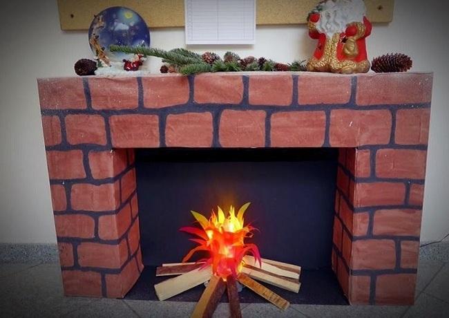 Как сделать огонь для камина из картона
