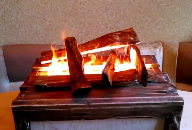 Как сделать имитацию огня в камине своими 588