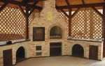 Каминный комплекс, в который входит барбекю, мангал, коптильня, казан и печь
