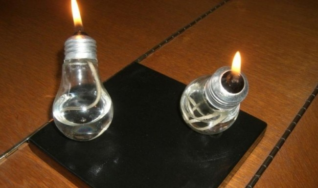 Оригинальный настольный биокамин из лампочек