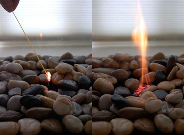 Поджигаем биокамин с помощью лучины