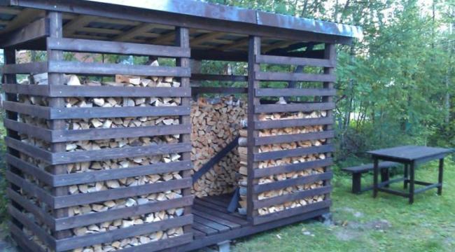 Хороший дровяник для хранения заготовленного леса