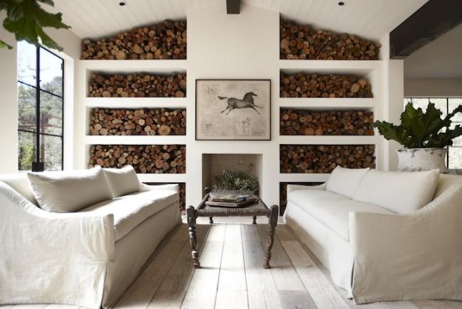 Использование в интерьере натуральных дров для декорирования стен