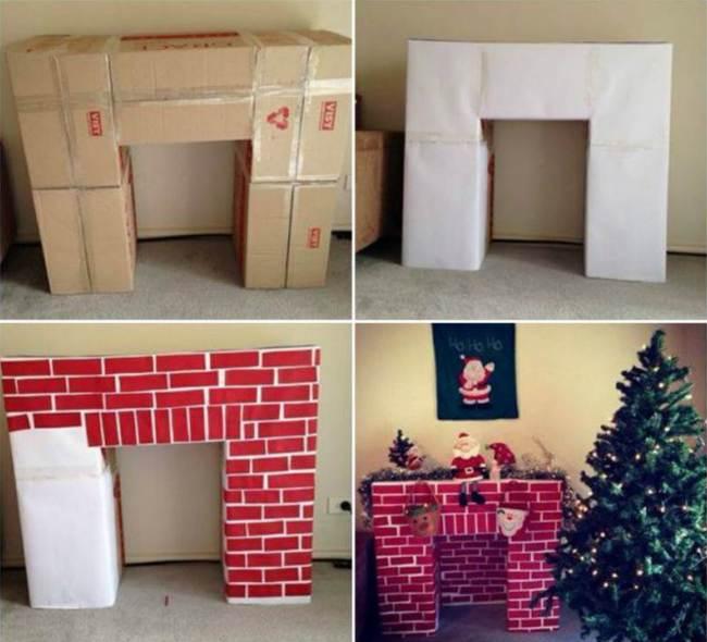 Простая схема строительства камина из коробок