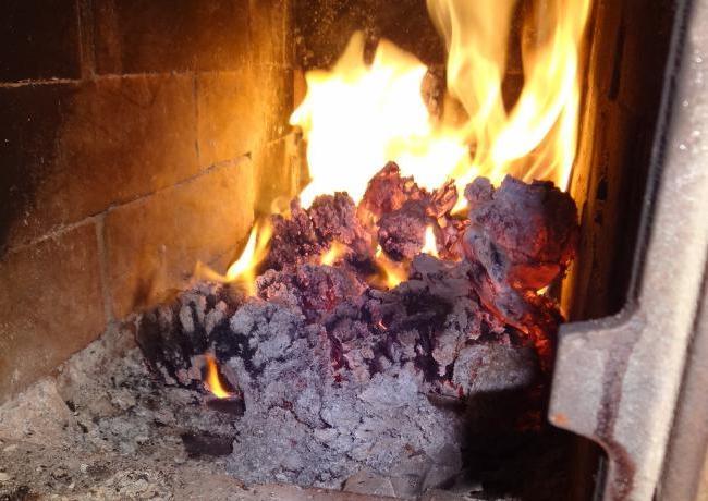 Сгорание в топке топливных брикетов из подсолнечника