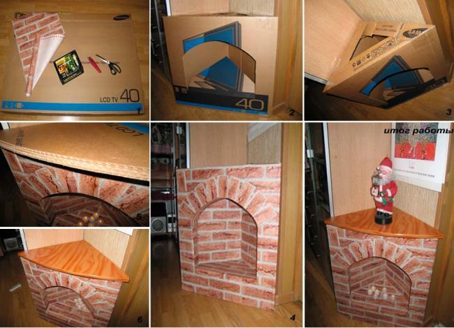 Создание углового фальш-камина из картонной коробки