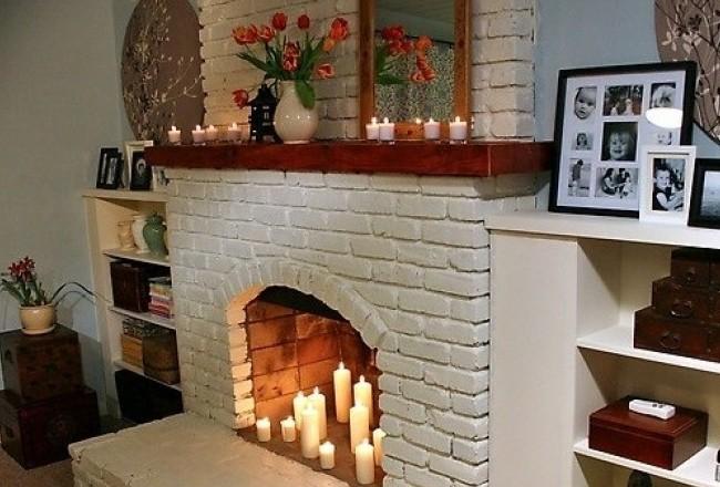 Кирпичный муляж большого размера со свечами
