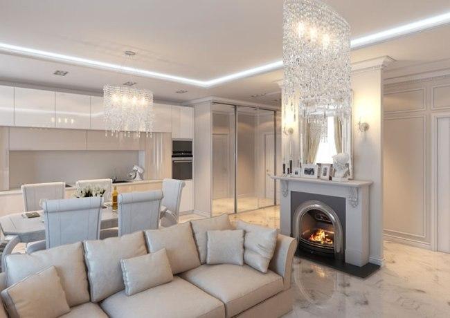 Спокойный интерьер гостиной в светлых тонах