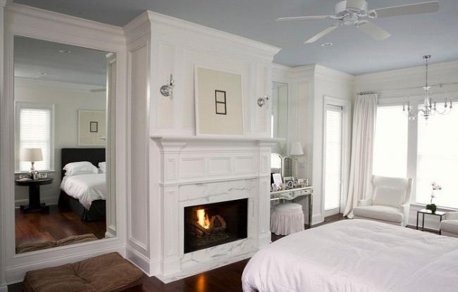 Интерьер спальни в белых цветах
