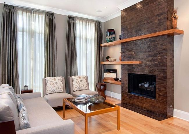 Каминная система в интерьере гостиной