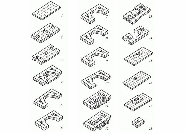 Схема кладки каждого ряда