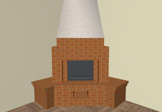 Нарисованый вариант углового камина