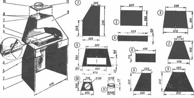 Схема с размерами будущего изделия