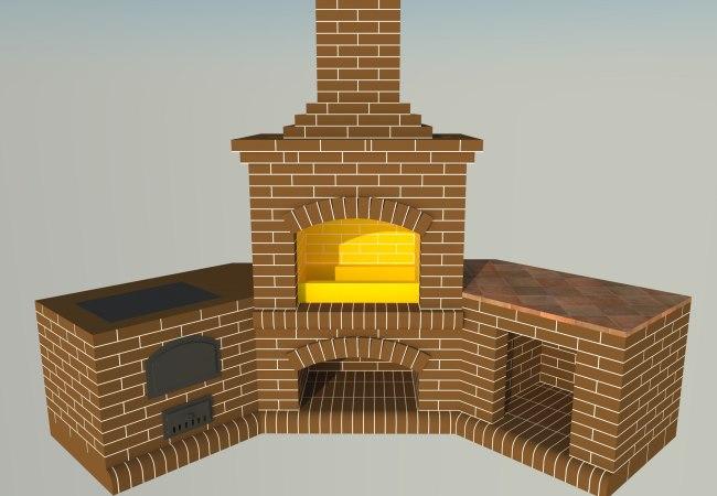 3Д модель будущей каминной системы