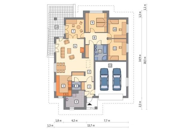 Схема дома с гаражом