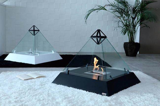 Треугольные биокамины на полу