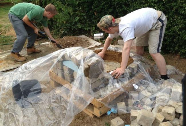 Строительство топки при помощи песка