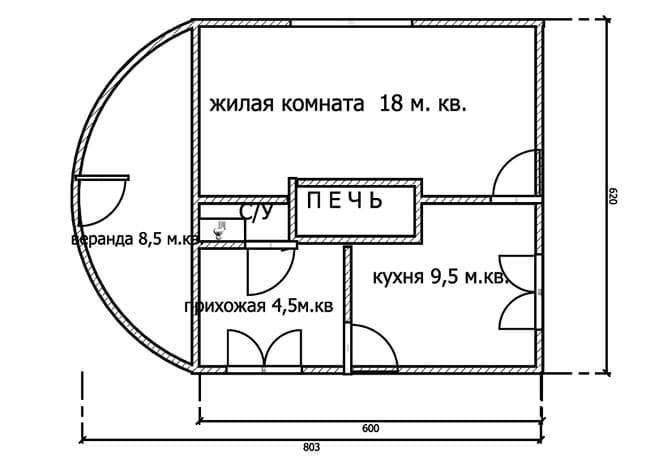 Планировка дома с печью